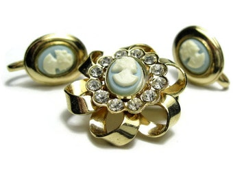 Vintage Cameo Jewelry Set, 1940's Rhinestone Cream Powder Blue Brooch Clip On Earrings, Antique Jewelry Gift Ideas For Women, Retro Fashion