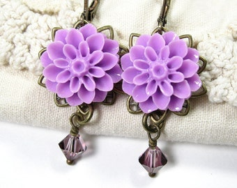 Lilac Victorian Style Swarovski Crystal Antiqued Brass and Resin Chrysanthemum Flower Dangle Earrings, Floral Jewelry, jewelrybyNaLa
