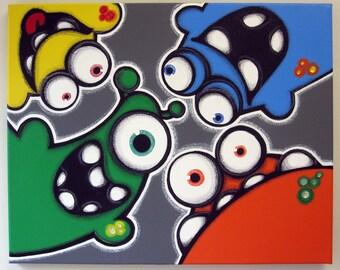 pEEkAbOO aLiENS - 16x20 original acrylic painting, monster art, monster wall decor