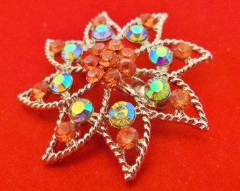 """Vintage New Old Stock SILVER tone brooch 2.5"""" with pink and aurora borealis coated rhinestones in unworn condition"""