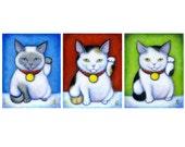 3 Maneki Nekos.  Archival 11x14 print of 3 Lucky Cats in a Row