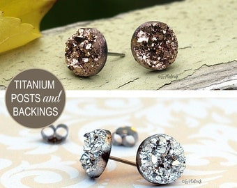 2 Pair Set of Glitter Stud Earrings - 10mm Faux Druzies in Rose Bronze and Metallic Silver, Titanium Post Earrings, Bridesmaid Gifts
