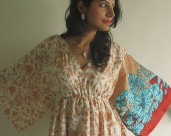 Butterfly Sleeves Empire Waist Leafy Kaftan Dress Summer Dress, Long Maxi, loungewear, beachwear, Maternity Dress, Holiday Vacation Wear