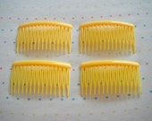 Yellow Plastic Hair Combs (4)
