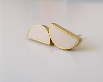 ivory brass half moon stud earrings