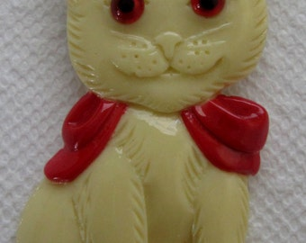 A  Beautiful Cat with Red Bow in Cream  ~ Pin / Brooch.