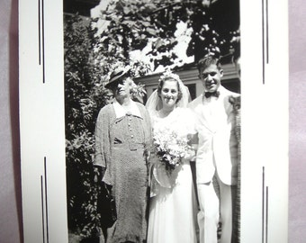 Vintage Wedding Snapshot July 1939......Bride and Groom and Mom Photo  FREE SHIPPING