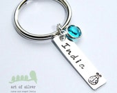 Personalized name keyrings - Hand stamped Keychain - Personalized charms - Mother's Day - Birthstone jewelry