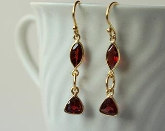 Garnet gemstone earrings, gold vermeille dangle earrings. January gemstone