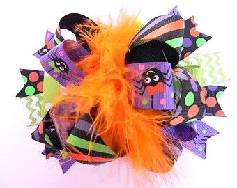 Halloween Hair Bows - Purple spider hair bow-Pumpkin hair bow-Over the top