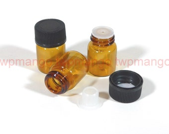12 x 1ml (1/4 dram) Amber Glass Essential Oil Bottle with Screw Foam Lined Cap & Orifice Reducer H153