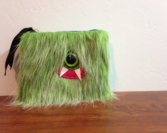 Kiwi Frost Cyclops Monster Pouch- One Green Eye