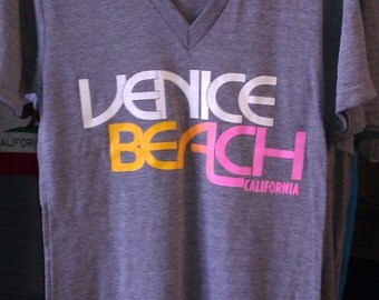 Venice Beach California Tri-Blend  V-neck American Apparel T-shirt Athletic Grey   S or  M