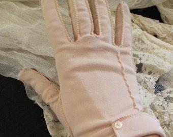 Vintage Beige Ladies Nylon Stretch Wrist Gloves