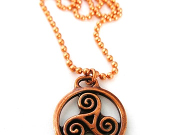 Antiqued Copper Celtic Triskelion Triple Spiral Irish Necklace