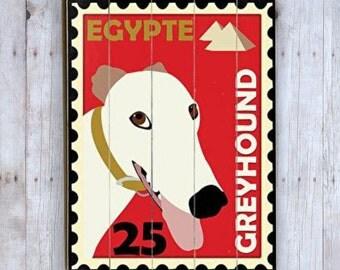 Greyhound Sign, Greyhound Art, Wooden Sign, Postage Stamp Art, Dog Lover Gift, Wood Plank, Dog Love, Dog Wall Decor