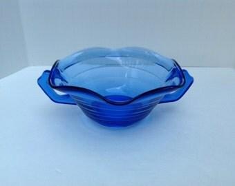 Rare Hazel Atlas Cobalt Blue Moderntone Ruffled Two Handled Bowl