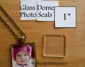 "50 1"" CLEAR SQUARE  Adhesive Easy INSTANT Seals for Glass Domes, Photo Jewelry.  Alternative to Resin and Glaze."