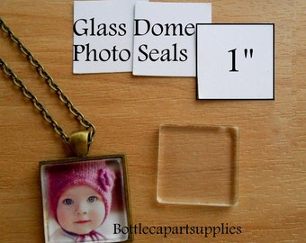 """50 1"""" CLEAR SQUARE  Adhesive Easy INSTANT Seals for Glass Domes, Photo Jewelry.  Alternative to Resin and Glaze."""