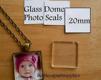 20mm CLEAR SQUARE Double Adhesive Easy INSTANT Sticker Seals for Glass Domes Photo Jewelry. Alternative to Resin and Glaze. 2 sided Stickers