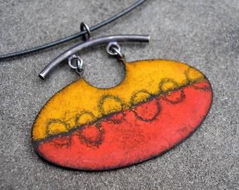 Enamel Pendant - Enamel Necklace - Red, Orange, Black Enamel Necklace - Sgraffito Enamel Necklace - Silver Enamel Pendant - Sterling Enamel