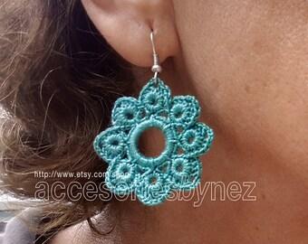 Cotton Crochet Earrings, Aqua Green Earrings, Dangle Earrings, Crochet Jewelry, Crochet Earrings