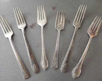 Beautiful Collection of 6 Vintage 1890s 1920s Art Nouveau Edwardian Art Deco Silver Plate Dinner and Salad Forks