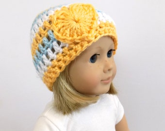 18 Inch Doll Clothes, Doll Hat, Striped Doll Beanie