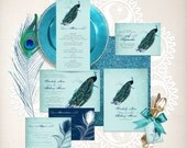 vintage peacock wedding stationery set invitation suite printable files bird feather diy invite reception or ceremony package blue turquoise