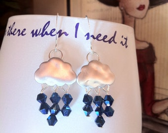 Rhodium Silver Rain Cloud Earrings with Swarovski Peacock Bicone Beads on French Wires by LauriJon™ Studio City