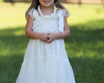 Ivory Chiffon Girls Dress- Flower Girl Dresses- White dress- Lace dress- Rustic Girls Dress- Baby Lace Dress- Junior Bridesmaid