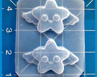 SALE 2 Kawaii Little Stars with wings  Plastic Handmade Resin Mold-