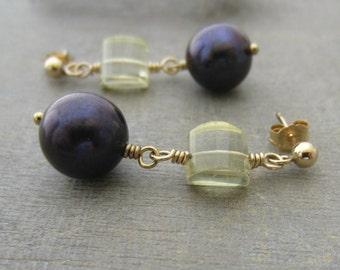 Gold Pearl Earrings, Gold Gemstone Earrings,  Dark Pearl Earrings, Dark Purple Earrings, Freshwater Pearl Jewelry, Gold Post Earring