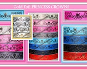 New 1, 2,3, 4 or 5 Yards 7/8 PRINCESS Gold FOIL Crowns on White pink blue red navy grey Grosgrain Ribbon bow decor Ice queen london uk july