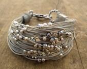 string beaded bracelet, fiber jewelry, multistring bracelet, trending item handmade in Italy