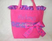 Big Sister Gift Bag - Polka Dot Ruffles and Bow Tote Bag- Monogrammed Flower Girl Gift