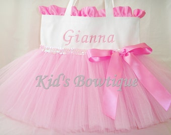 Personalized Tutu Bag with Ruffles and Bow - Flower Girl Tutu Purse Gifts- Baby Pink Birthday Gift