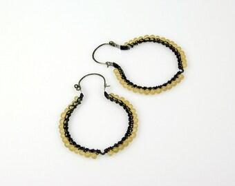 Lemon Yellow Earrings, Boho Hoops, Handcrafted Hoop, Earrings
