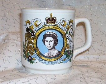 QUEEN ELIZABETH SILVER  Jubilee Mug 1977