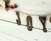 Joy Banner, Rustic Christmas Decor, Rusty metal letter banner, Cabin Holiday Decor, Primitive Christmas Garland, Rag Banner, Unique Banner