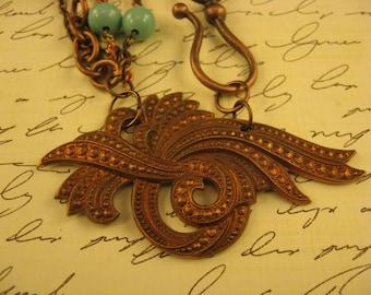 "Handmade Vintage Assemblage, ""Timeless Treasure"", Vintage Copper Pendant, Vintage Beaded Rosary Chain, Turquoise Beads"