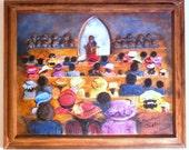 Framed Art, Wall Art, Religious Art, Church Art, Folk Art Painting, Southern Art, Home Decor, Black Congregation, Black Subject Matter