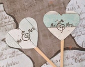 Mr and Mrs Cupcake Toppers - wood grain, rustic, vintage