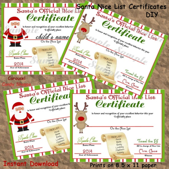 Santa's Boy and Girl Nice List Certificate, DIY, Instant Download ...