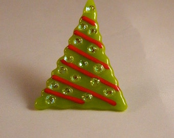 Whimsical sparkly Fused Glass Christmas tree pin, CT1414
