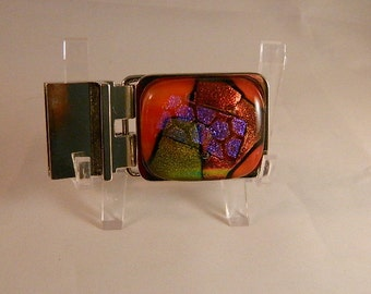 Abstracts in Dichroic Fused Glass Rectangular Nickel Plated Belt Buckle