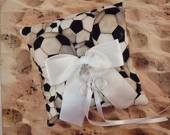 Soccer White Fabric White Bow Soccer Charm Wedding Ring Bearer Pillow