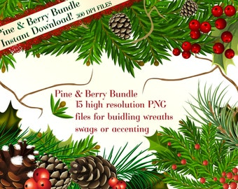 Pine and Berry Clipart, Holiday Clipart, Christmas Clipart, Pinecone Clipart, Holly Clipart