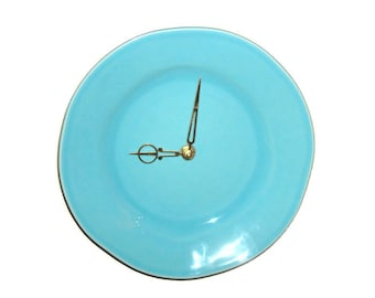 Robin Egg Blue Wall Clock - Ceramic Plate Wall Clock - Aqua Wall Clock - Kitchen Clock - Unique Organic Round Clock - 1433