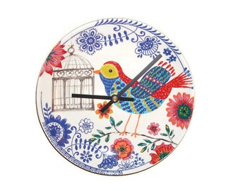Folk Art Bird Wall Clock - Bird Cage Wall Clock - Unique Wall Clock - Unique Wall Decor - Bird Wall Decor - 2060